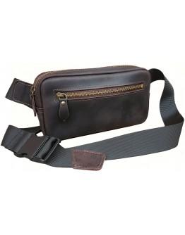 Темно-коричневая мужская сумка - бананка 709777-SGE