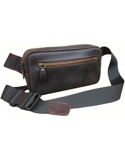 Фотография Темно-коричневая мужская сумка - бананка 709777-SGE