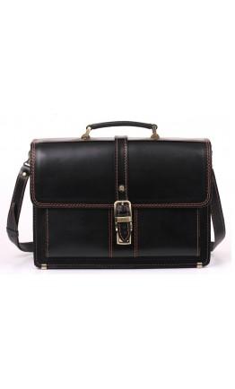 Кожаный черный портфель с коричневой нитью Manufatto 710-rvkor