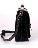 Фотография Кожаный черный портфель с коричневой нитью Manufatto 710-rvkor