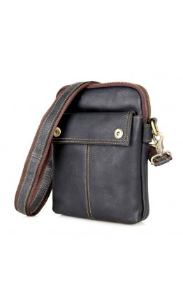 Черная мужская сумка на плечо среднего размера 71002a