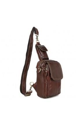 Коричневая сумка кожаная на плечо среднего размера 71004b