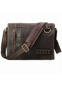 Горизонтальная сумка на плечо из плотной воловьей кожи 710066tid