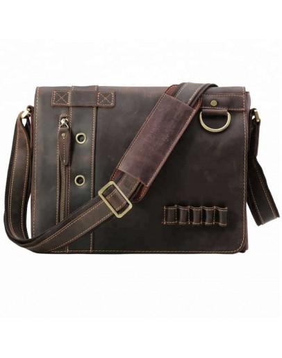 Фотография Горизонтальная сумка на плечо из плотной воловьей кожи 710066tid