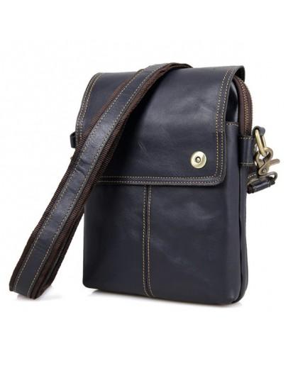 Фотография Синяя кожаная мужская сумка на плечо 71006k