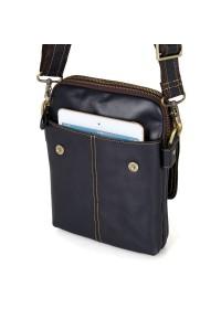 Синяя кожаная мужская сумка на плечо 71006k