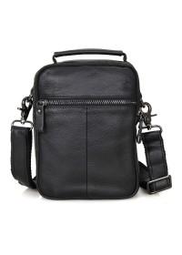 Чёрная небольшая кожаная мужская сумка 71007a