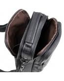 Фотография Чёрная небольшая кожаная мужская сумка 71007a