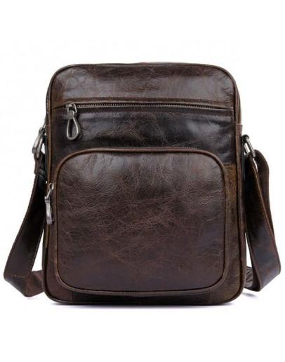Фотография Кожаная мужская сумка шоколадного цвета 71008C