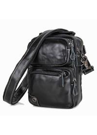 Чёрная небольшая кожаная мужская сумка 71010a
