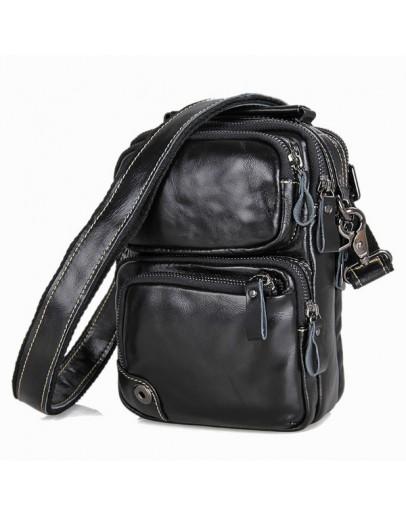 Фотография Чёрная небольшая кожаная мужская сумка 71010a