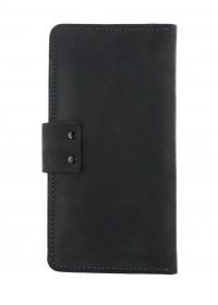 Вместительное кожаное черное мужское портмоне 71010P-SKE