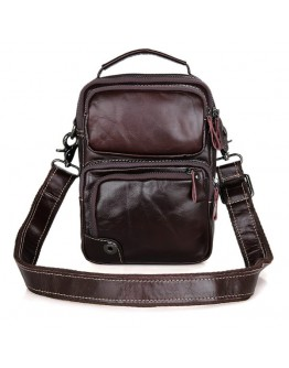 Коричневая небольшая кожаная мужская сумка 71010c