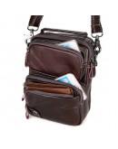 Фотография Коричневая небольшая кожаная мужская сумка 71010c