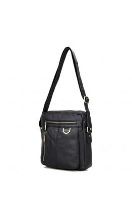 Кожаная чёрная мужская сумка на плечо без клапана 71011a