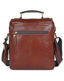 Фотография Коричневая мужская сумка на плечо с ручкой для ношения в руке 71016X