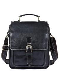 Черная мужская сумка на плечо с ручкой для ношения в руке 71016a