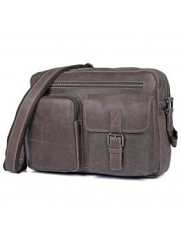 Серая мужская сумка кожаная городская 71017J