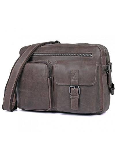 Фотография Серая мужская сумка кожаная городская 71017J