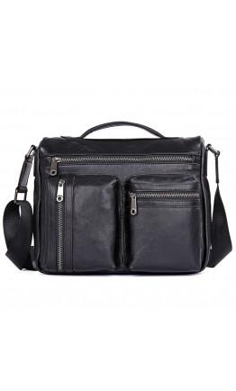 Черная кожаная мужская сумка на плечо и в руку 71019 a
