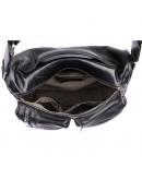 Фотография Черная кожаная мужская сумка на плечо и в руку 71019 a