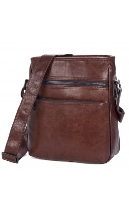 Коричневая кожаная сумка мужская на плечо 71025c