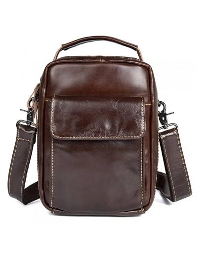 Фотография Коричневая сумка мужская кожаная 71027c