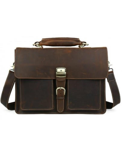 Фотография Кожаный мужской портфель коричневого цвета 710315