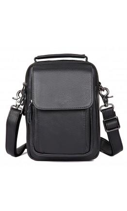 Мужская кожаная сумка на плечо, черный цвет 71032a