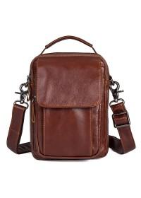 Мужская сумка кожаная на плечо, коричневый цвет 71032c
