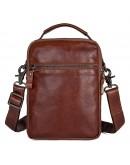 Фотография Мужская сумка кожаная на плечо, коричневый цвет 71032c