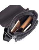 Фотография Черная мужская сумка на плечо, кожаная  71033a