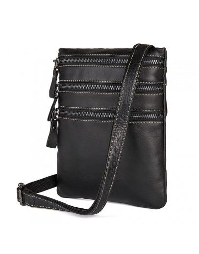 Фотография Мужская сумка на плечо, черная повседневная 71034a