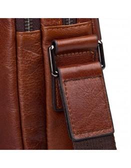 Коричневая кожаная сумка мессенджер на плечо 71043X