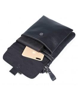 Черная сумка мужская на плечо и на пояс 71046A
