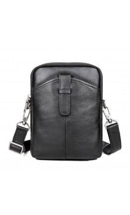 Мужская черная небольшая сумка через плечо 71052A