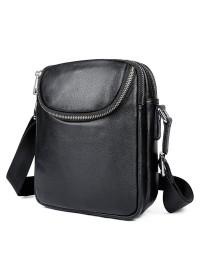Кожаная черная небольшая мужская сумка на плечо 71053AS