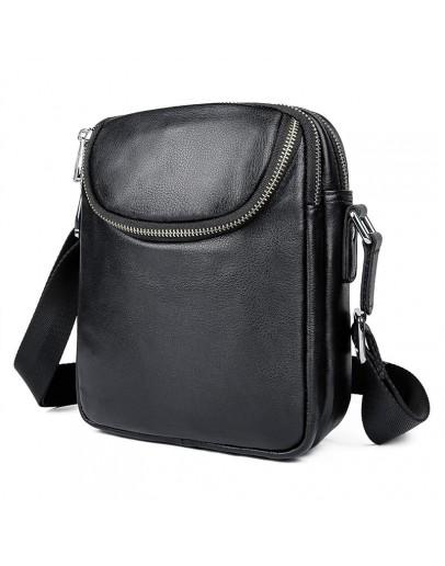 Фотография Кожаная черная небольшая мужская сумка на плечо 71053AS