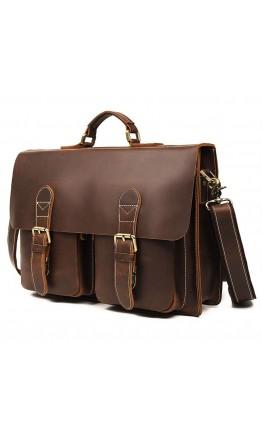 Винтажный коричневый мужской кожаный портфель 77105B-2