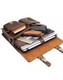 Фотография Винтажный коричневый мужской кожаный портфель 77105B-2