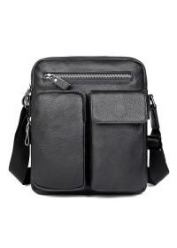 Черная сумка на плечо из натуральной кожи 71058A