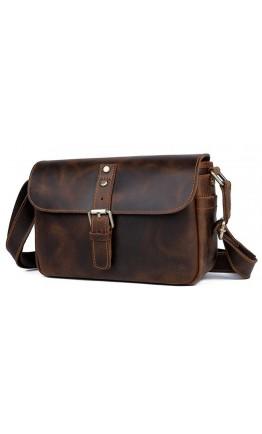 Сумка кожаная коричневая винтажная на плечо 71062R