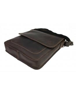 Добротная кожаная коричневая сумка на плечо 710638-SKE
