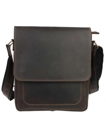 Фотография Добротная кожаная коричневая сумка на плечо 710638-SKE