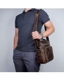 Фотография Коричневая вмесительная мужская сумка - барсетка 71063R