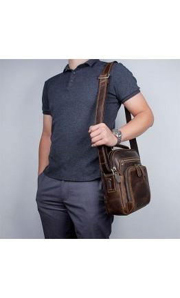 Коричневая вмесительная мужская сумка - барсетка 71063R