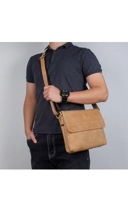 Винтажная горизонтальная мужская сумка на плечо 71065B