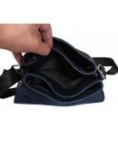 Фотография Стильная повседневная кожаная синяя сумка 7106