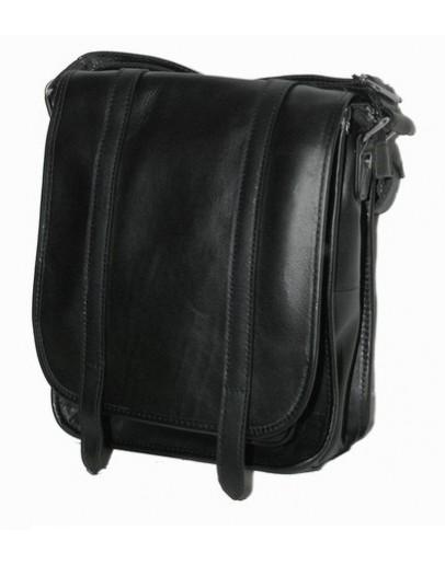 Фотография Вместительная кожаная черная сумка на плечо 77109A