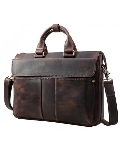 Фотография Коричневая кожаная мужская повседневная сумка 71096c